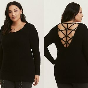 Torrid Knot Sweater with Cage Back